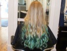 long blond mermaid teal blue green tips ombre curls long layers haircut